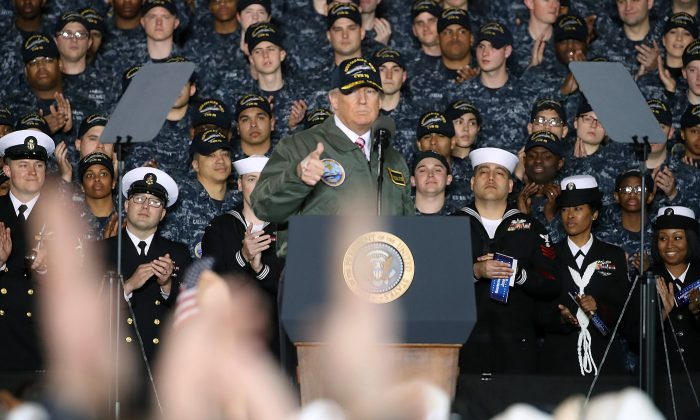 President Donald Trump speaks to members of the U.S. Navy and shipyard workers on board the USS Gerald R. Ford CVN 78 that is being built at Newport News shipbuilding in Newport News, Virginia, on March 2, 2017. The USS Ford is powered by two Nuclear reactors and is 1, 092 feet long with a 134 foot beam and can carry over 75 aircraft. (Mark Wilson/Getty Images)