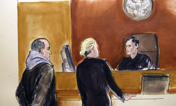 In this courtroom drawing, Elvis Redzepagic (L) appears before Magistrate Judge Robert Levy (R) in New York on March 4, 2017, during his arraignment on charges that he attempted to provide material support to a foreign terrorist organization. (Elizabeth Williams via AP)