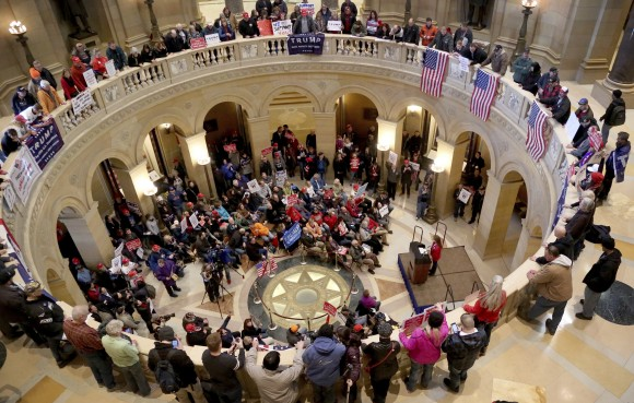 A national March 4 Trump brought out a large crowd in support of President Donald Trump to the State Capitol rotunda in St. Paul, Minn.  on March 4, 2017. (David Joles /Star Tribune via AP)