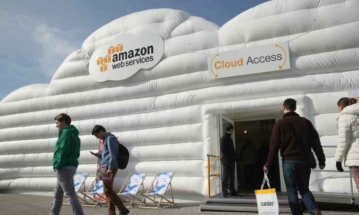 The cloud computing pavilion of Amazon Web Services at the 2016 CeBIT digital technology trade fair on March 14, 2016 in Hanover, Germany. (Photo by Sean Gallup/Getty Images)
