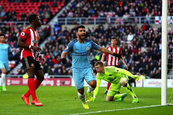Sergio Aguero of Manchester City celebrates scoring the opening goal during the Premier League match between Sunderland and Manchester City at Stadium of Light on March 5, 2017 in Sunderland, England. (Chris Brunskill Ltd/Getty Images)