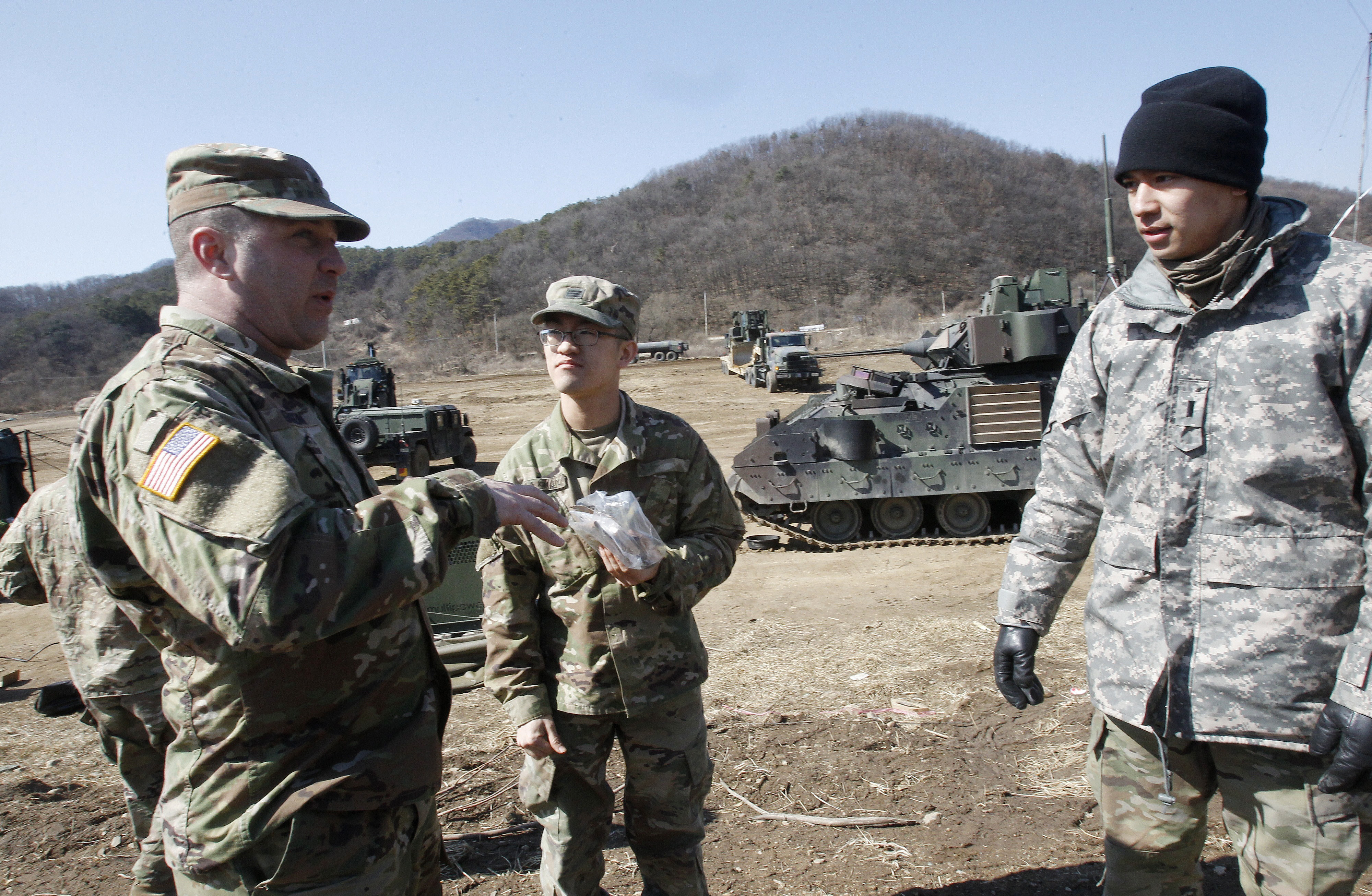 U.S. Army soldiers prepare their military exercise in Paju, near the border with North Korea, South Korea on March 6, 2017. (AP Photo/Ahn Young-joon)