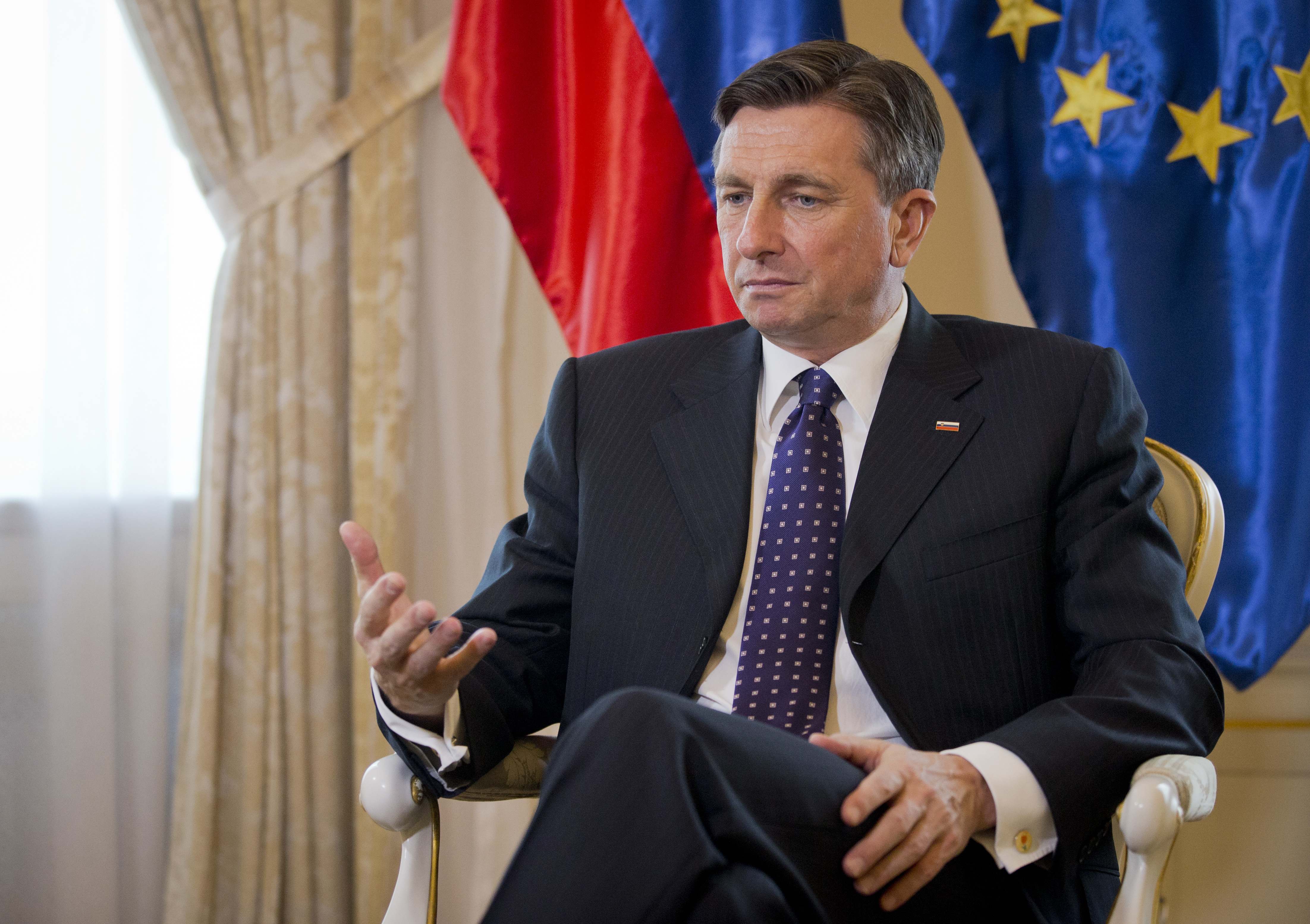 Slovenia's president Borut Pahor gestures during an interview with the Associated Press in Ljubljana, Slovenia on March 6, 2017. (AP Photo/Darko Bandic)