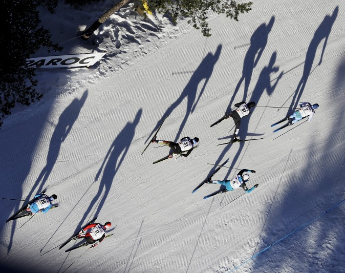 Athletes compete in the men's 50 km race during the 2017 Nordic Skiing World Championships in Lahti, Finland, on March 5, 2017. (AP Photo/Matthias Schrader)