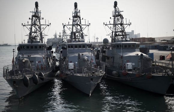 A picture taken on April 9, 2016 shows US Navy ships moored ahead of the International Mine Countermeasures Exercise (IMCMEX) organised by the US Navy at its Naval Support Activity base, the 5th Fleet command center, in the Bahraini capital Manama. (MOHAMMED AL-SHAIKH/AFP/Getty Images)