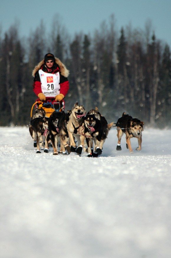 Iditarod champion Micth Seavey mushes his sled dog team over the frozen Willow Lake as Iditarod XXXV official begins 04 March 2007 in Willow, Alaska. (JIM WATSON/AFP/Getty Images)