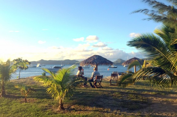 A seating area near Oualie Beach, one of the top spots to visit in both Nevis and St. Kitts. (Janna Graber)
