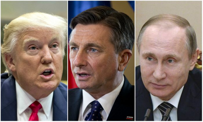 President Donald Trump in the Roosevelt Room of the White House in Washington on Feb. 27, 2017; Slovenia's president Borut Pahor during an interview with the Associated Press in Ljubljana, Slovenia on March 6, 2017; Russian President Vladimir Putin chairs a meeting with heads of Russia's oil companies at the Kremlin in Moscow, on March 1, 2016. (AP Photo/Pablo Martinez Monsivais; AP Photo/Darko Bandic; Alexei Nikosky/AFP/Getty Image)