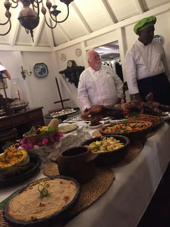 Chefs preparing dinner at Hermitage Plantation. (Janna Graber)