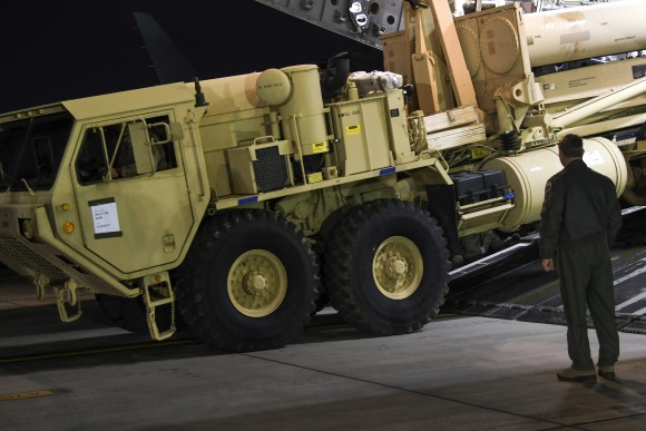 A truck carrying parts of U.S. missile launchers and other equipment needed to set up the Terminal High Altitude Area Defense (THAAD)  missile defense system arrive at Osan air base in Pyeongtaek, South Korea on March 6, 2017. The U.S. military has begun moving equipment for the controversial missile defense system to ally South Korea. (U.S. Force Korea via AP)