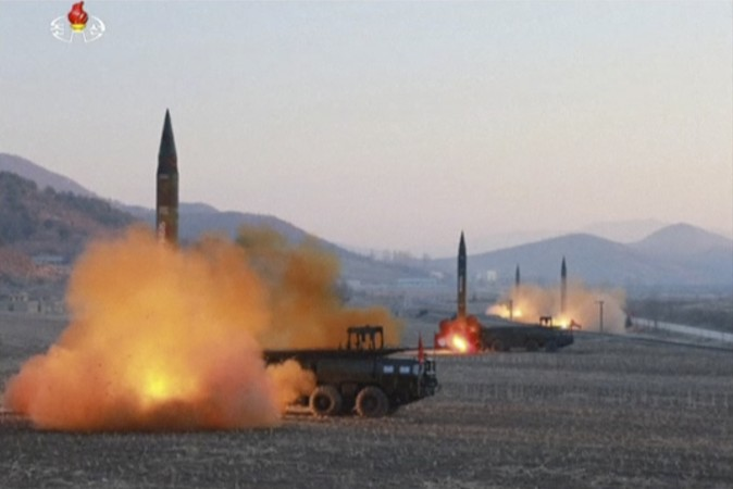 In this image made from video released by KRT North Korea launches four missiles in an undisclosed location North Korea on March 7, 2017. On Monday, North Korea fired four ballistic missiles in an apparent protest against ongoing U.S.-South Korean military drills that it views as an invasion rehearsal. (KRT via AP Video)