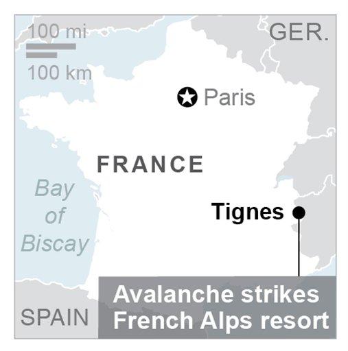 Map locates Tignes resort in France. (Via AP)