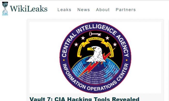 Screenshot of the WikiLeaks homepage.