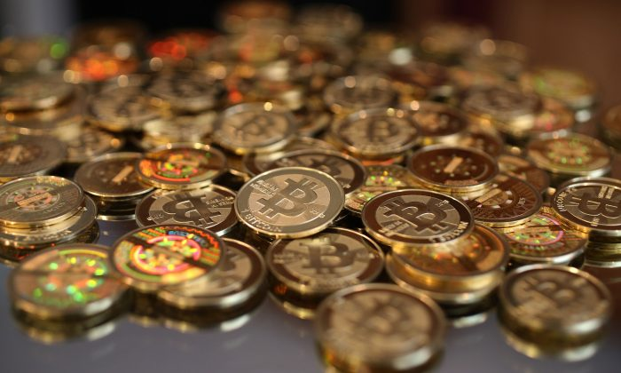 A pile of bitcoins. (George Frey/Getty Images)
