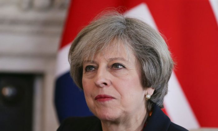 British Prime Minister Theresa May holds a meeting with French Prime Minister Bernard Cazeneuve (not seen) at 10 Downing Street in central London on Feb. 17, 2017. (DANIEL LEAL-OLIVAS/AFP/Getty Images)