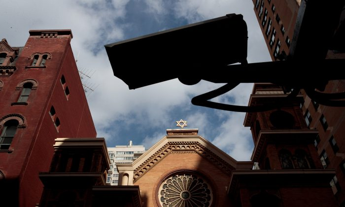 A Security camera hangs across the street from the Park East Synagogue in New York City on March 3, 2017. (Drew Angerer/Getty Images)