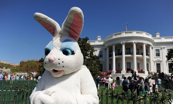 A person dressed as a Easter bunny watches children participate in the annual White House Easter Egg Roll in Washington, DC. on the South Lawn on April 21, 2014. (Douliery-Pool/Getty Images)