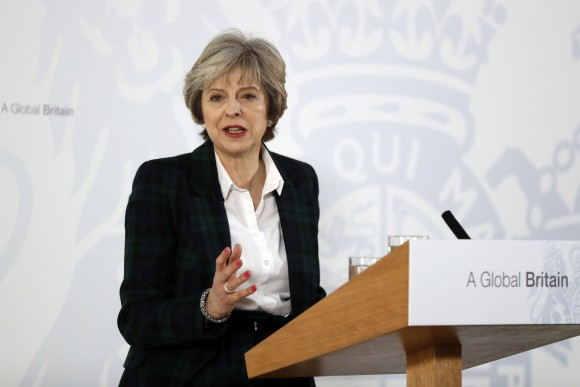 British Prime Minister Theresa May speaks at Lancaster House in London on Jan. 17. May dismisses concerns over Britain's lack of trade negotiators and recent experience making trade deals. (Kirsty Wigglesworth - WPA Pool /Getty Images)