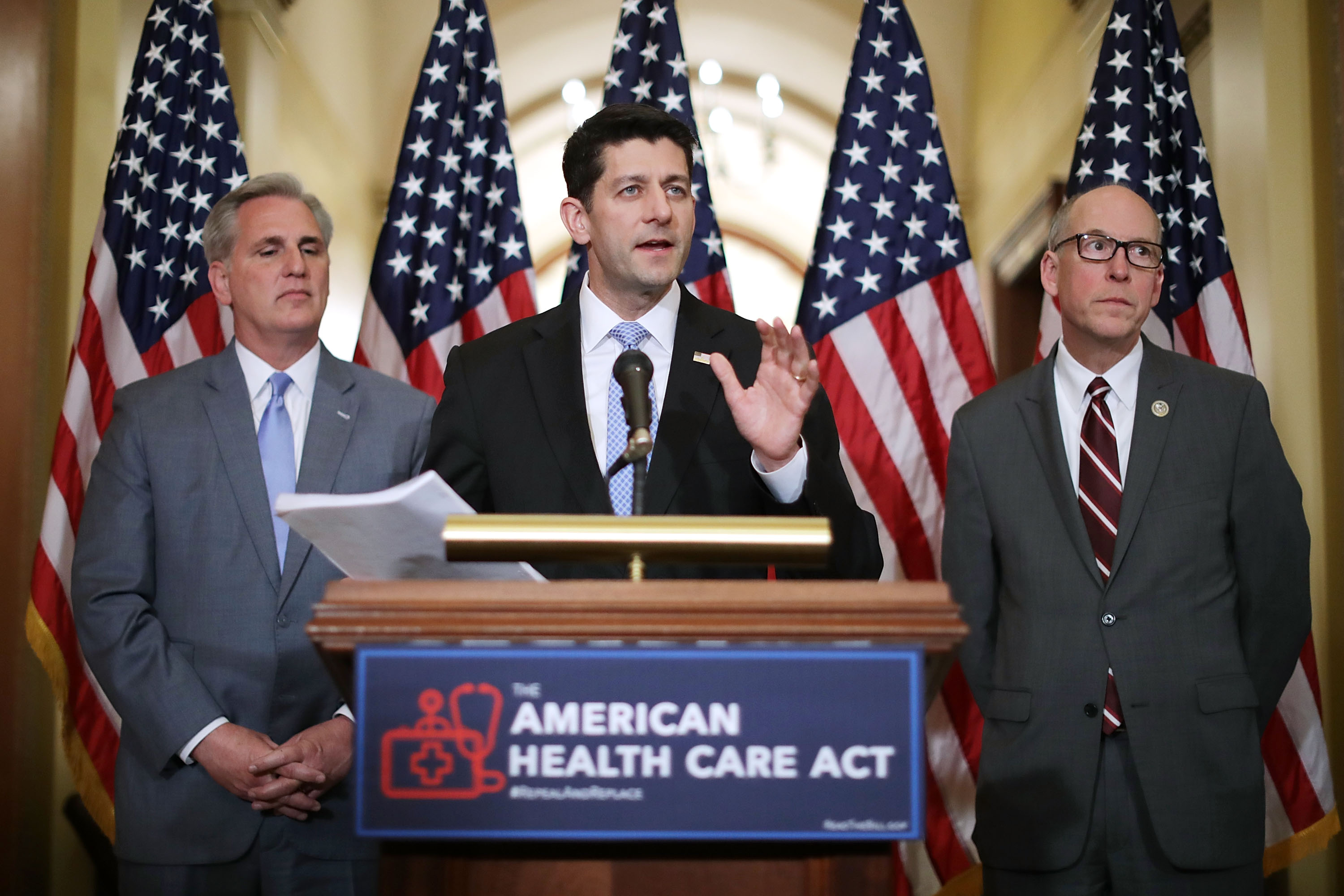 Speaker of the House Paul Ryan (C) answers questions about the House GOP's new American Health Care Act with Rep. Kevin McCarthy (L) and Rep. Greg Walden in Washington on March 7. (Chip Somodevilla/Getty Images)