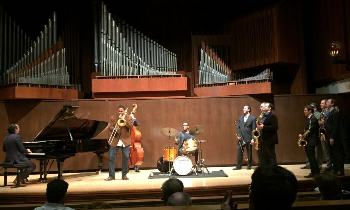 In an impromptu invitation to join the performance, Will and Peter Anderson invite great Lincoln Center jazz trombonist Vincent Gardner to perform with pianist John Chin, bassist Matthew Rybicki, and drummer Marion Felder, in the tribute to the late Joe Temperley. (Julie Jordan)