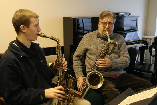 Will Anderson with his legendary Juilliard  teacher, Joe Temperley. His teaching was