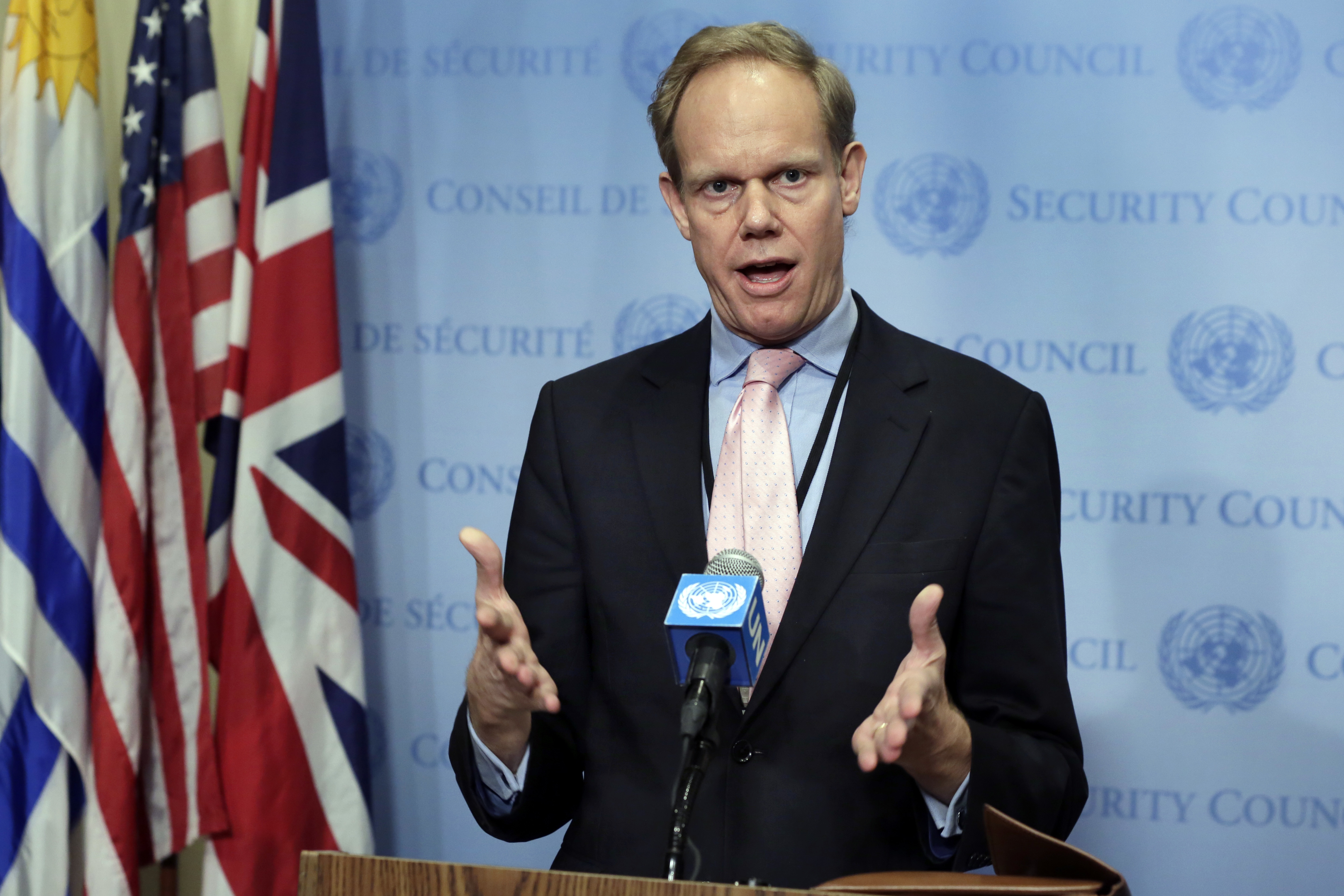 Britain's Ambassador Matthew Rycroft speaks during news conference after consultations of the United Nations Security Council on March 8, 2017. (AP Photo/Richard Drew)