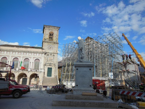 On March 3, reconstruction work is underway on the Basilica of St. Benedict, which pays homage to Europe's patron saint, St Benedict. The basilica in the town of Norcia, Italy was damaged by an earthquake in October 2016. (Angela Giuffrida)
