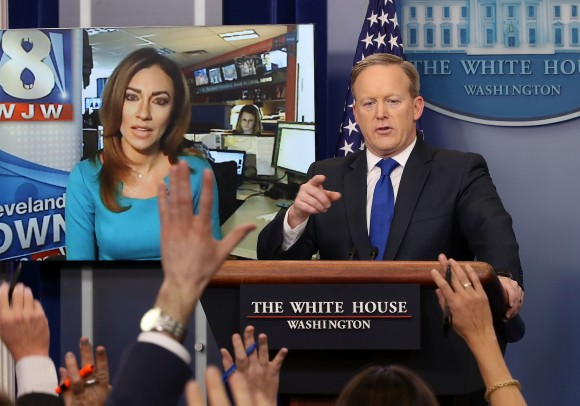 White House Press Secretary Sean Spicer takes questions from reporters including  Natalie Herbick of FOX 8 in Cleveland via Skype, in the Brady Press Briefing Room at the White House  in Washington on Feb. 1, 2017. (Mark Wilson/Getty Images)
