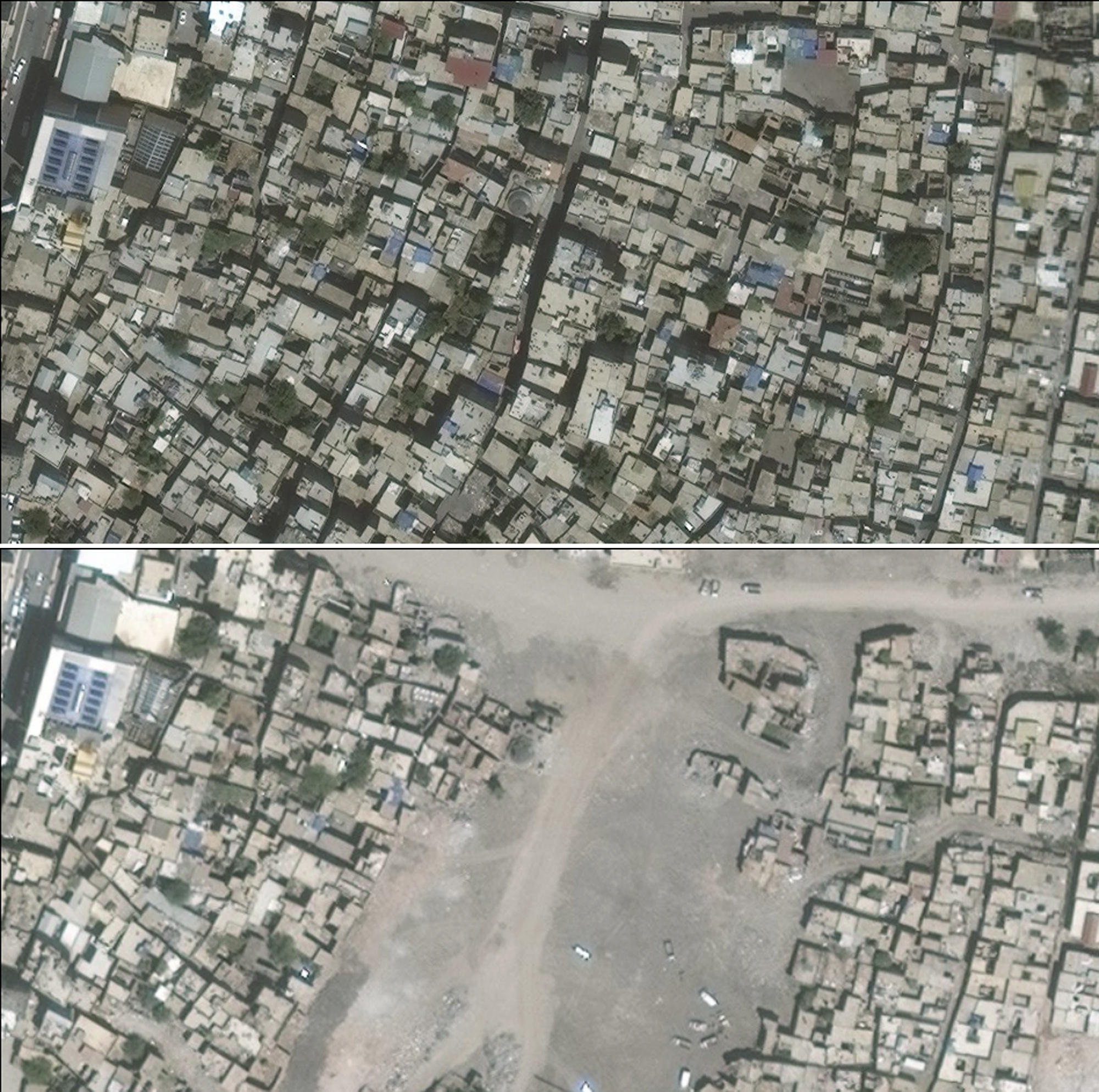 Combo from satellite photos provided by UNOSAT shows the city of Sur in Turkey's Diyarbakir Province on June 22, 2015, top, and on July 26, 2016 bottom. (DigitalGlobe/UNOSAT via AP)