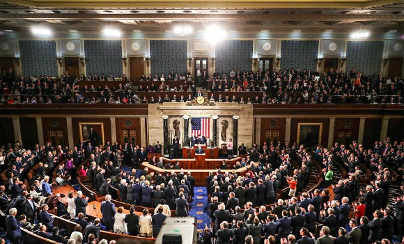 President Donald Trump arrives to address a joint session of Congress on Feb. 28. His first address to a particularly divided Congress focused on a message of unity. (Chip Somodevilla/Getty Images)