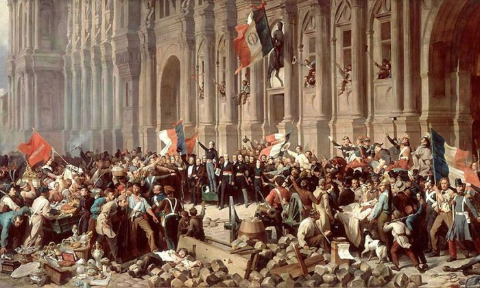 """This painting by Henri Felix Emmanuel Philippoteaux (1815–1884) depicts Lamartine, a reformist, before the Hôtel de Ville in Paris, rejecting the Red Flag on Feb. 25, 1848. The red flag represents terror, blood, and a """"party's republic,"""" Lamartine told the crowd. (Public Domain)"""