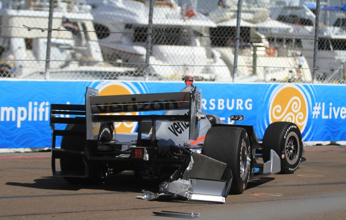 Penske's Will Power lost the rear end in Turn Ten early in the session but was uninjured and able to continue. (Chris Jasurek/Epoch Times)