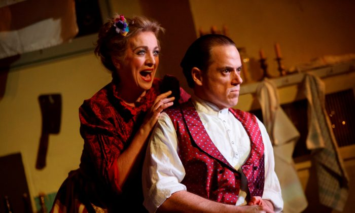"""Mrs. Lovett (Siobhan McCarthy) and Sweeney Todd (Jeremy Secomb), in """"Sweeny Todd: The Demon Barber of Fleet Street."""" (Joan Marcus)"""