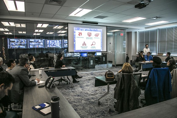Dr. Joel Caplan gives a presentation on his Risk-based policing initiative strategy at the Atlantic City Police Department headquarters on  Feb. 15, 2017. (Benjamin Chasteen/Epoch Times)