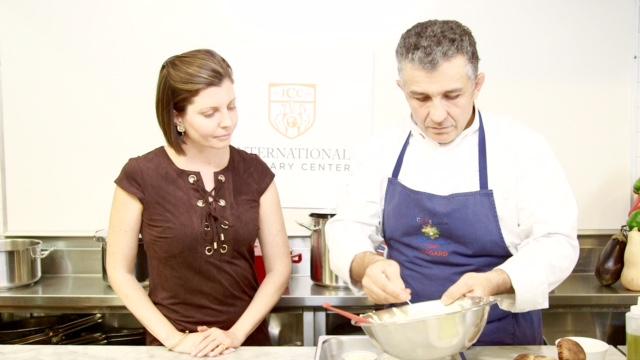 Sibylle Eschapasse with chef Bernard LIberatore at the International Culinary Center. (Melinda Martinez/Celebrity Taste Makers)