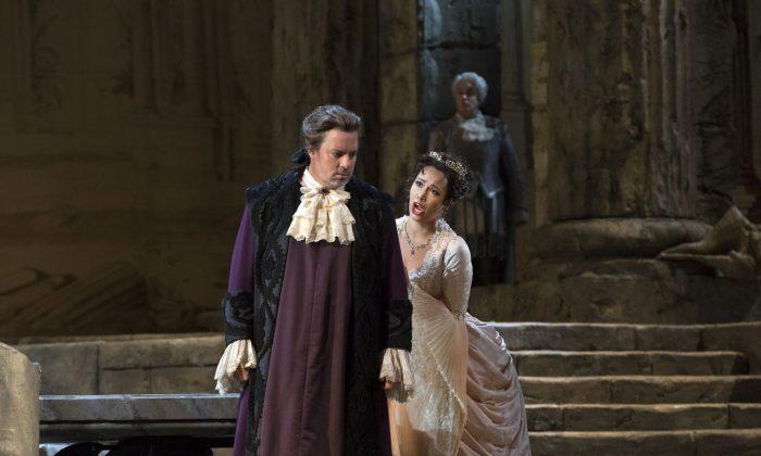 "Matthew Polenzani in the title role and Nadine Sierra as Ilia in Mozart's ""Idomeneo."" (Marty Sohl/Metropolitan Opera)"