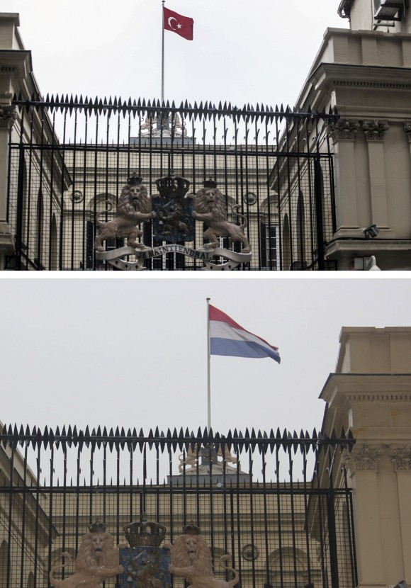 In this combo image of two photographs shot on Sunday, March 12, 2017, a Turkish flag, top picture, flies over the Dutch consulate in Istanbul shortly after a man climbed onto the roof and replaced the Netherlands' flag with the Turkish one, while on the bottom the Netherlands one is restored back by officials after the man was apprehended. (AP Photo)
