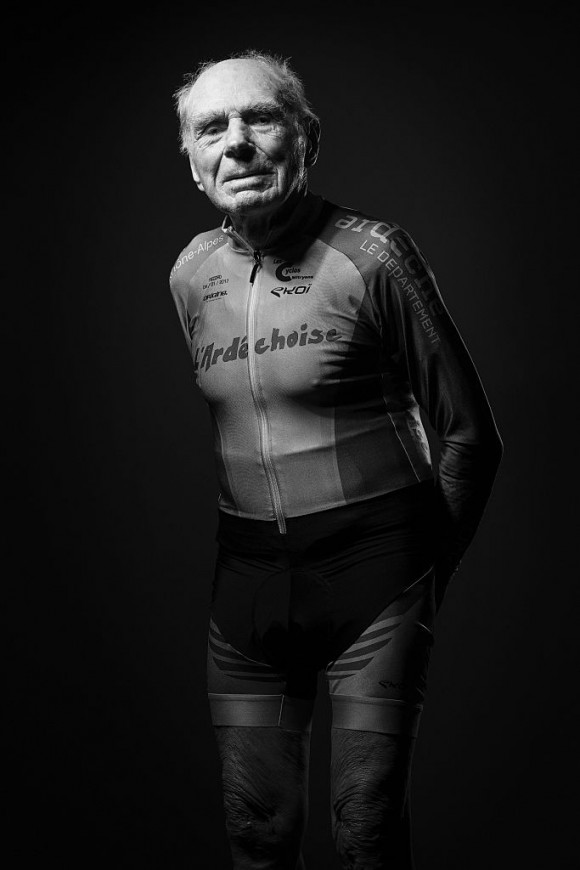 French 105-year-old Robert Marchand poses during a photo session in Paris on January 5, 2017, a day after he set a new one-hour cycling record for his age, although he was already in a class of his own.  Marchand pedalled for 22,547 kilometres (14.01 miles) in the national velodrome in Saint-Quentin-en-Yvelines, west of Paris, to the cheers of hundreds of spectators, and when he had finished he said he could have gone faster. (Joel Saget/AFP/Getty Images)