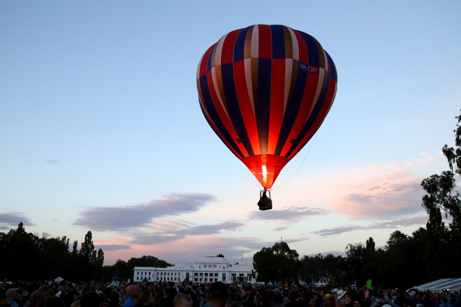 A hot air balloon launches at the 2017 Canberra Balloon Spectacular in Canberra, Australia, on March 12. The Canberra Balloon Spectacular runs over nine days and is considered to be one of the best and longest running hot air ballooning events in the world. (Cameron Spencer/Getty Images)