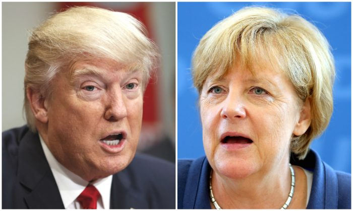 President Donald Trump in the Roosevelt Room of the White House in Washington on Feb. 2; German Chancellor Angela Merkel in Berlin on Aug. 17, 2015. (AP Photo/Pablo Martinez Monsivais; WOLFGANG KUMM/AFP/Getty Images)