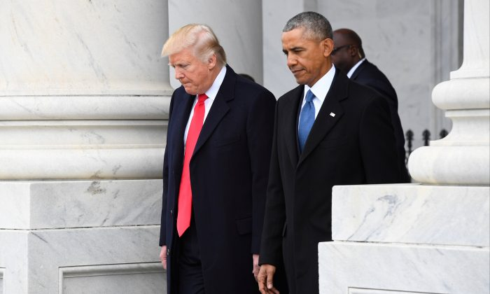 President Donald Trump and former President Barack Obama walk out of the East front prior to Obama's departure from the 2017 Presidential Inauguration at the U.S. Capitol in Washington on Jan. 20, 2017. (REUTERS/Jack Gruber/Pool via USA TODAY NETWORK/File Photo)