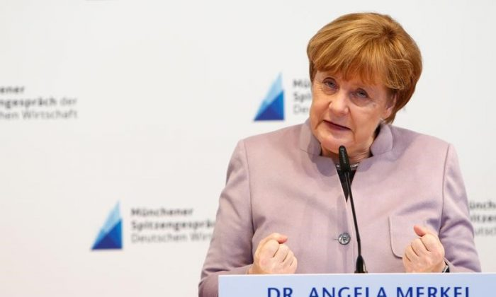 German Chancellor and head of the Christian Democratic Union (CDU) Angela Merkel speaks during the International Trade Fair in Munich, Germany on March 13, 2017. (REUTERS/Michaela Rehle)