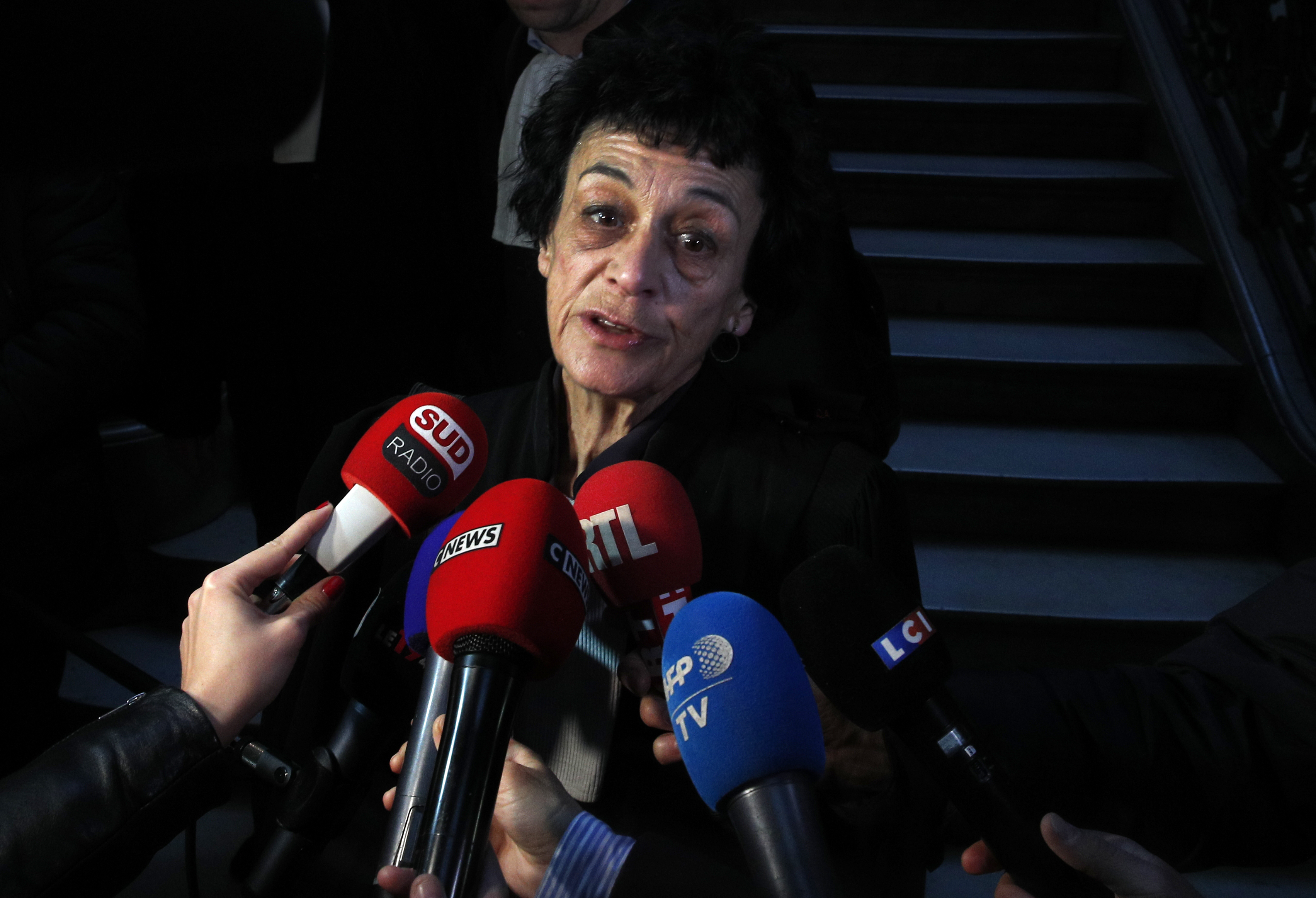 Carlos the Jackal's lawyer Isabelle Coutant-Peyre, answers reporters at the Paris court, France on March 13, 2017. (AP Photo/Christophe Ena)
