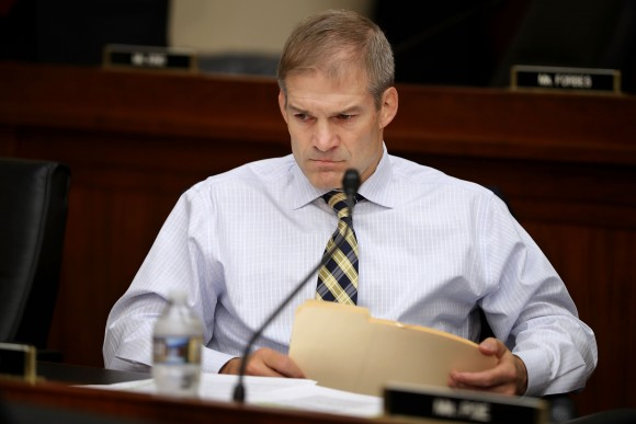 House Judiciary Committee member Rep. Jim Jordan (R-OH) prepares for a hearing with IRS Commissioner John Koskinen in the Rayburn House Office Building on Capitol Hill in Washington on Sept. 21, 2016. (Chip Somodevilla/Getty Images)
