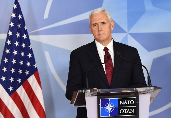 Vice-President Mike Pence gives a press conference after a meeting at the NATO headquarters in Brussels on Feb. 20, 2017.  President Donald Trump expects NATO allies to make real progress by the end of this year towards the increased defense spending target agreed by the alliance, Pence said on Feb. 20, 2017. (EMMANUEL DUNAND/AFP/Getty Images)