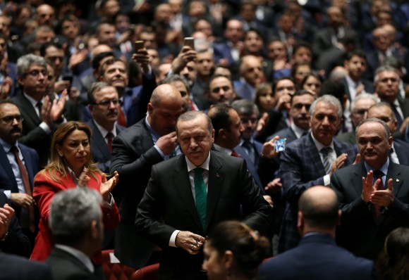 Turkish President Tayyip Erdogan arrives for a meeting in Ankara on March 14, 2017. (Murat Cetinmuhurdar/Presidential Palace/Handout via REUTERS)