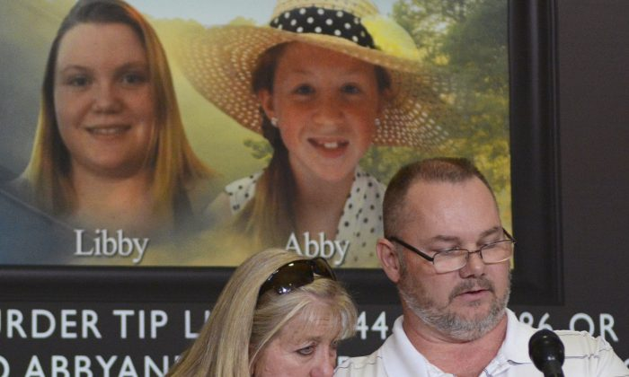 Grandparents of victim Libby German, Becky Patty (L) and her husband Mike Patty during a news conference for the latest updates on the investigation of the double homicide of Liberty German and Abigail Williams at Carroll County Courthouse in Delphi, Ind., on March 9, 2017. Kyle Keener/The Pharos-Tribune via AP)