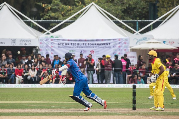 Marlon Samuels keeps the score rolling for Kowloon Cantons in the final of the T20 Blitz in Hong Kong on Sunday March 12, 2017. (Dan Marchant).