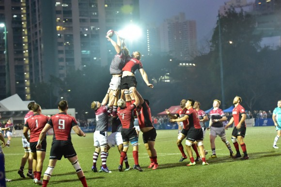 Valley (Red and Black) and Kowllon contest for a lineout during the early stages of the Championship final at King's Park on Saturday March 11, 2017. (Bill Cox/Epoch Times)