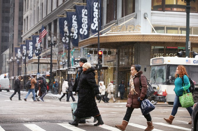 A Sears' flagship store in the Loop in Chicago on Jan. 22, 2014. (Scott Olson/Getty Images)